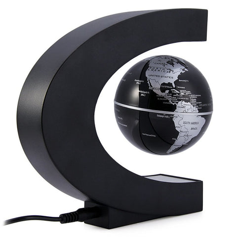 Image of C Shape Magnetic Levitation Floating Globe World Map with LED Lights for Desk Decoration