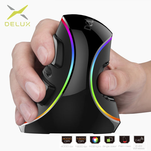DIGITBLUE Ergonomics Vertical Gaming Mouse | RGB Wireless Right Hand Mice | 6 Buttons 4000 DPI Optical | Wired Mouse For PC Laptop