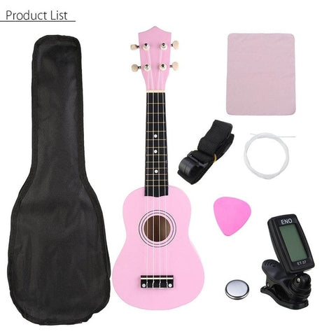 Image of Ukulele Combo 21 Ukulele Black Soprano 4 Strings Uke Hawaii Bass Stringed Musical Instrument Set Kits+Tuner+String+Strap+Bag
