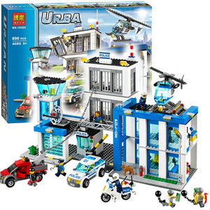 City Police Station Motorbike Helicopter Model Building Bricks Kits Compatible with Legoe City 60047