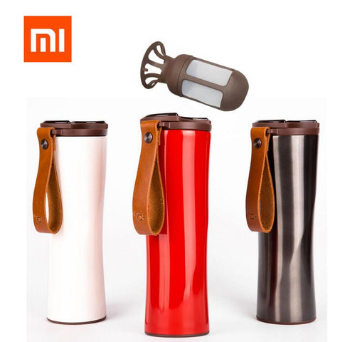 Image of Xiaomi Kiss Kiss Fish Slim Smart Cup 430ml OLED Temperature Screen 310g Protable Stainless Steel Hot Water Cup with Leather Rope