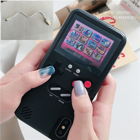 Soinmy Full color display GameBoy Cases for phone Tetris Gameboy Game PC back Coque for phone cases