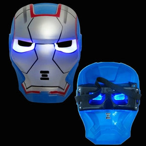 LED Super Hero Mask | Hulk American Captain Iron Man Spiderman Batman Crazy Rubber Mask | Halloween Costume Party Mask | For Children Adult