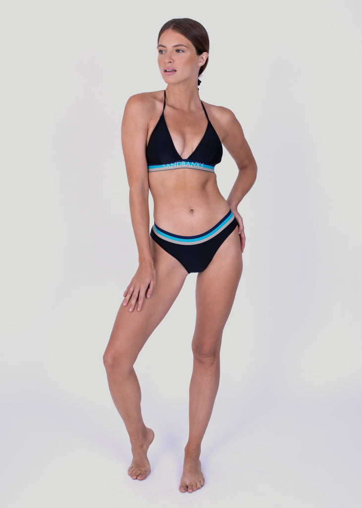 Sandbanks Tri-Colour Bikini Top - Black - sandbanksco.com