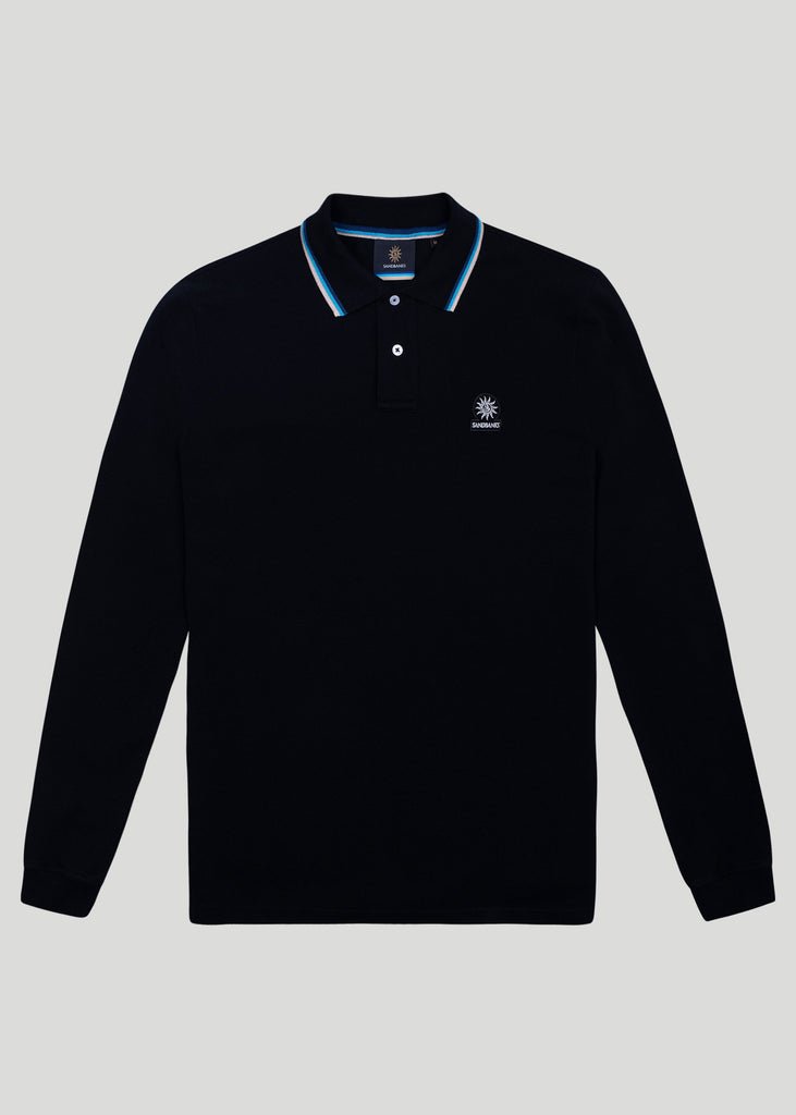 Sandbanks Badge Logo Long Sleeve Polo Shirt - Black - sandbanksco.com