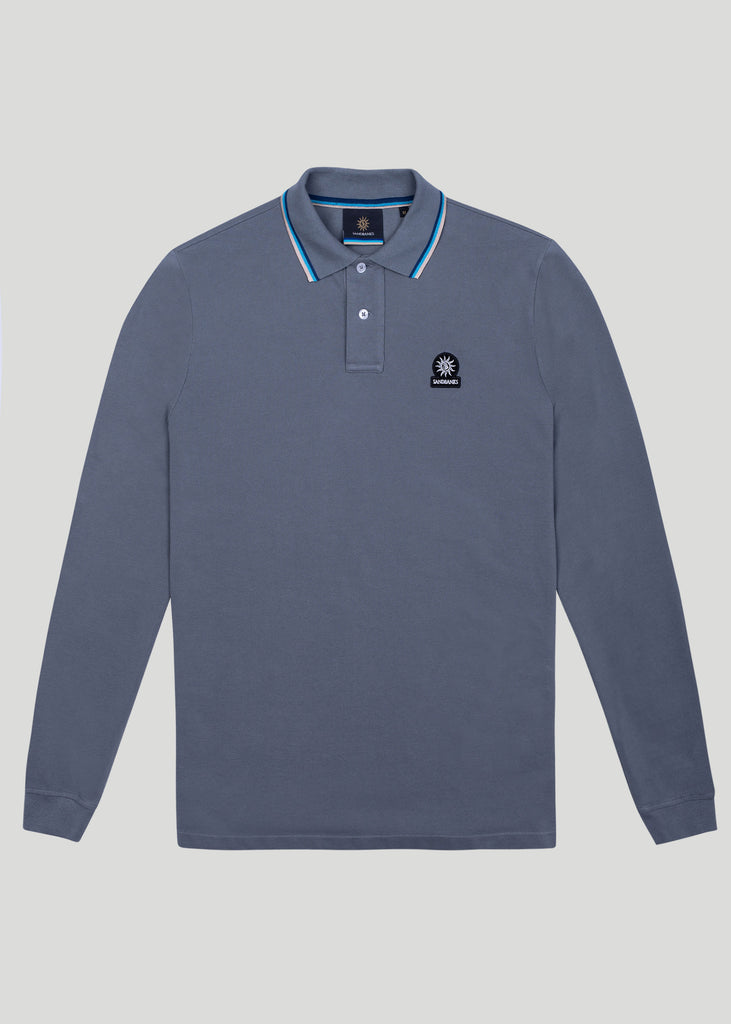 Sandbanks Badge Logo Long Sleeve Polo Shirt - Grey - sandbanksco.com