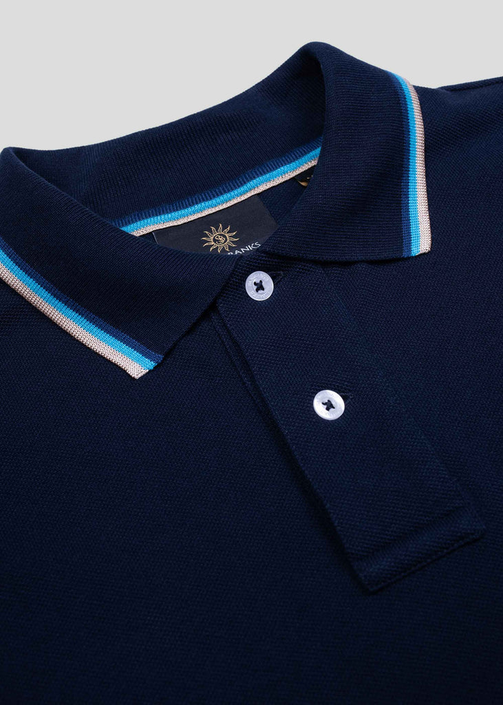 Sandbanks Badge Logo Long Sleeve Polo Shirt - Navy - sandbanksco.com