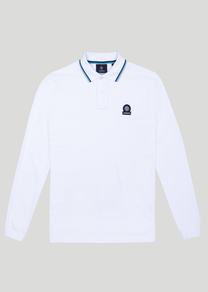 Sandbanks Badge Logo Long Sleeve Polo Shirt - White - sandbanksco.com