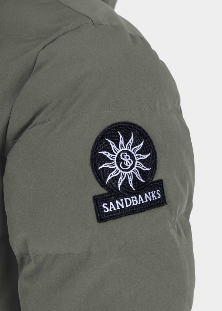 Sandbanks Branksome Long Puffer Jacket - Khaki - sandbanksco.com