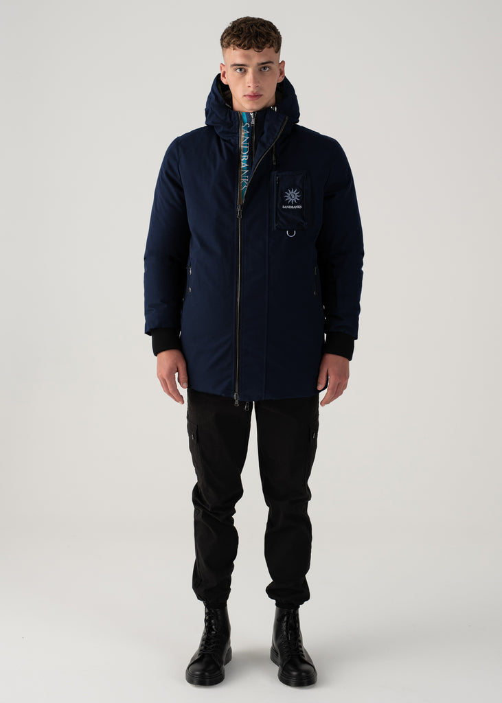 Sandbanks Panorama Reversible Parka Jacket - Navy/Grey - sandbanksco.com