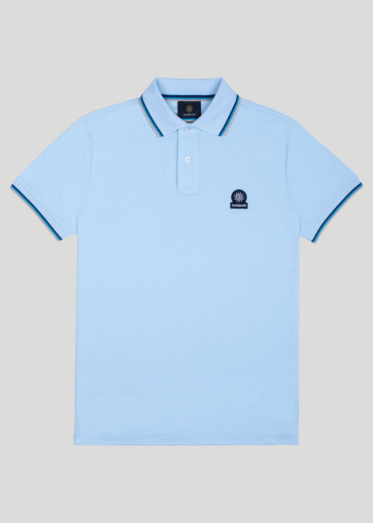 Sandbanks Badge Logo Polo Shirt - Crystal Blue - sandbanksco.com