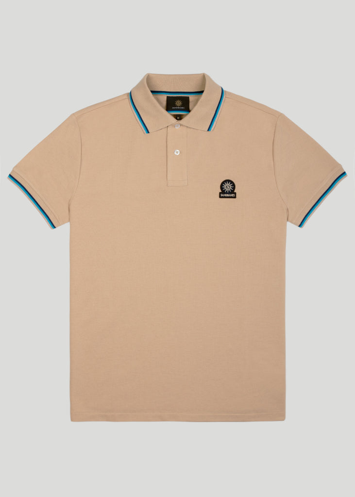 Sandbanks Badge Logo Polo Shirt - Sand - sandbanksco.com