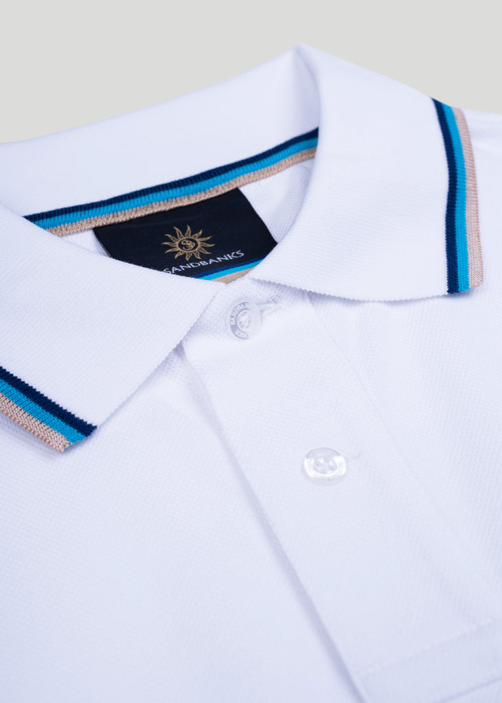 Sandbanks Badge Logo Polo Shirt - White - sandbanksco.com