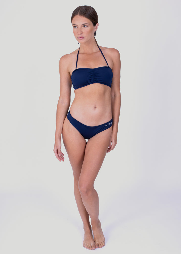 Sandbanks Ruched Bandeau Bikini Top - Navy - sandbanksco.com