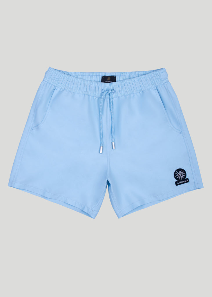 Sandbanks Badge Logo Swim Shorts - Crystal Blue - sandbanksco.com
