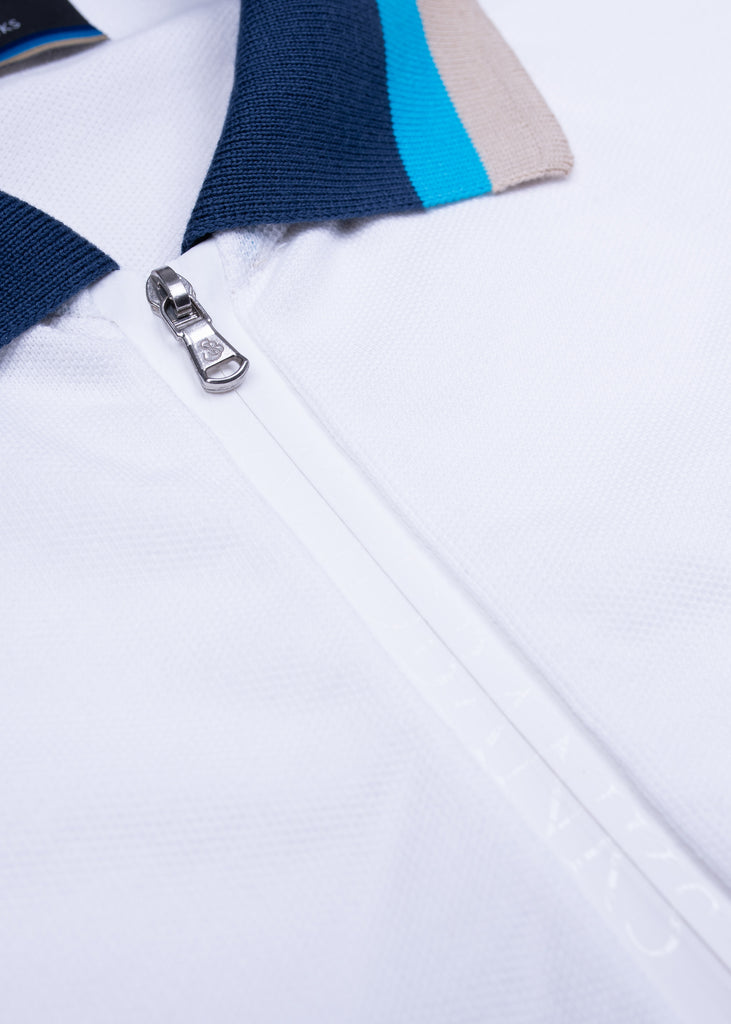 Sandbanks Tri-Colour Zip Polo Shirt - White - sandbanksco.com