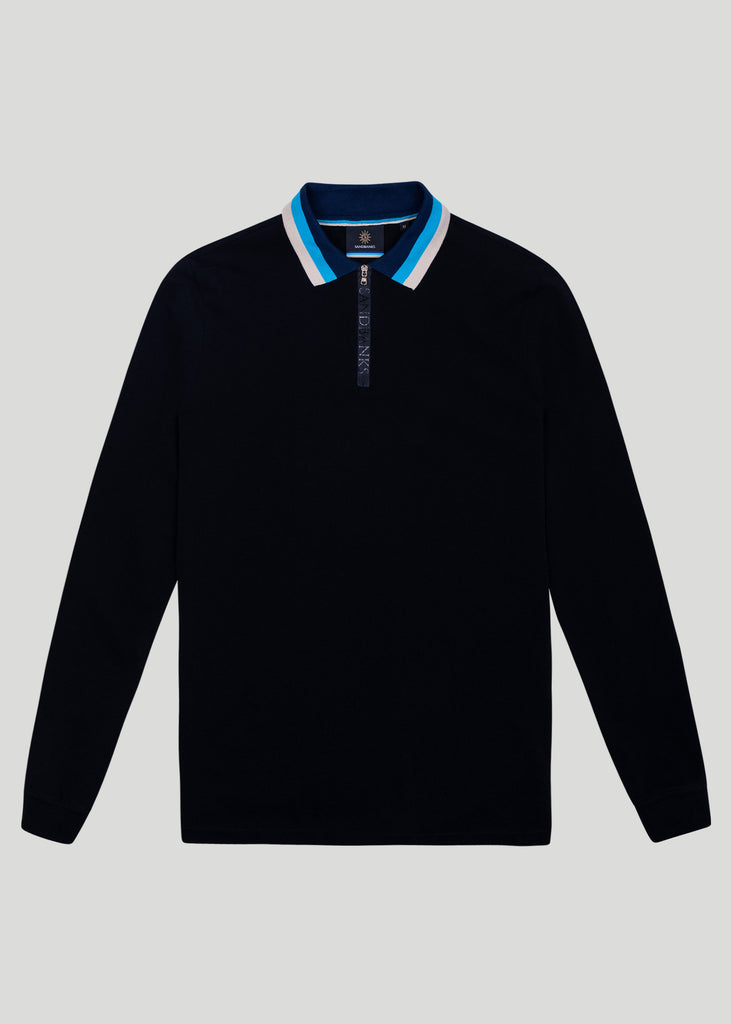 Sandbanks Tri-Colour Long Sleeve Zip Polo Shirt - sandbanksco.com