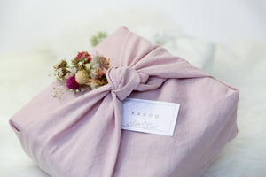 KADOO curated gift box in furoshiki fabric wrap. sustainable, artisan, made in the usa, women-owned.