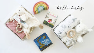 Welcome new baby gift box, baby shower gift box, hello world gift box and bundle of joy gift box.