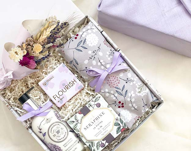Lavender bliss gift box for her with curated products from women-owned business