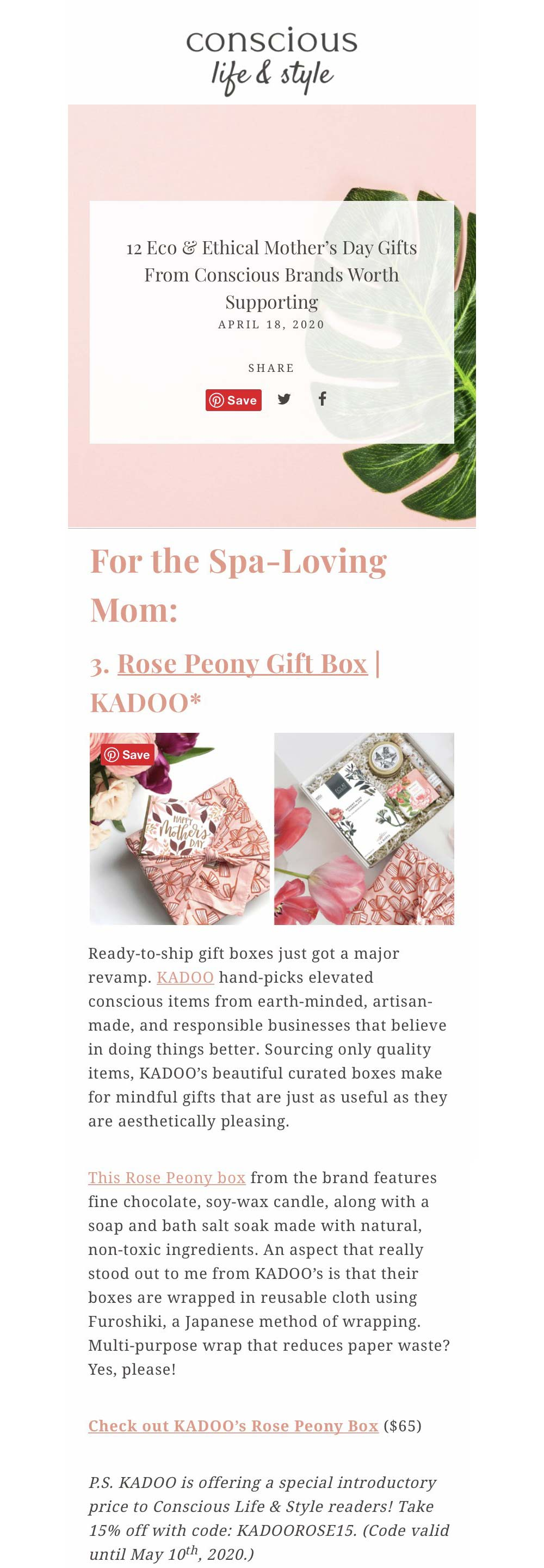 kadoo Conscious Life and Style Eco & Ethical Mother's Day Gifts for the spa-loving mom.
