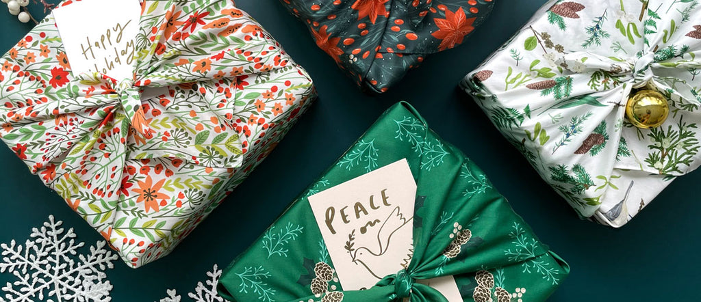 kadoo holiday curated gift box filled with artisan products and wrap in reusable furoshiki fabric wraps
