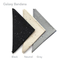 KADOO Galaxy Bandana in Black, Neutral and Gray color. Hand screen printed in Portland, Oregon. 100% cotton.