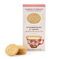 Strawberries & Cream Cookies by Elegant & English: All-butter sweet biscuits, made in England by Artisan Biscuits from high-quality and natural ingredients. Perfect for tea.