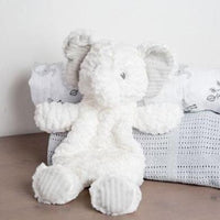 Mary Meyer Elephant lovey has white textured body and embroidered eyes. Gender neutral. Stuffed head and under stuffed body make this elephant part toy and part blanket. Beans in body and feet make it fun to hold.