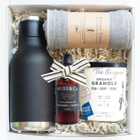 KADOO Morning Welness gift box with linen fabric wrap. Contains Asobu insulated water bottle, Nawrap anti-bacterial fitness towel, Wilder & Co Hand sanitizer and Banner Road Baking Organic Granola.