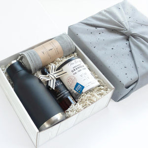 KADOO Morning Wellness gift box with galaxy space special edition cotton bandana in grey hand painted color for Father's Day or Gift for him. Contains insulated water bottle, anti-bacterial fitness towel, hand sanitizer and award-winning granola.