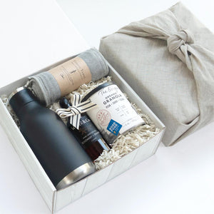 KADOO Morning Wellness gift box with natural French linen fabric wrap for Father's Day or Gift for him. Contains insulated water bottle, anti-bacterial fitness towel, a hand sanitizer and award-winning granola.