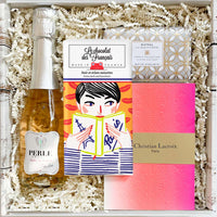 KADOO gift box the fresh start for her. Gifts: non alcohol rose, LCDF extra dark chocolate, Christian Lacroix neon journal and Mistral White Hyacinth soap.