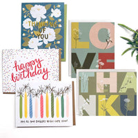 Choose notecards greeting to insert in KADOO gift box: Happy birthday, Thanks, Love or Thinking of you.
