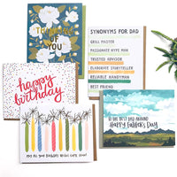 Choose notecards greeting to insert in KADOO gift box: Happy birthday, Happy Father's Day, or Thinking of you.