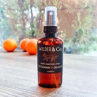 Wilder & Co. Hand Cleansing Gel: Rosemary + Orange hand cleansing spray with added Aloe and 100% natural essential oils for a light citrus scent. 62%, alcohol. One bottle, 2 oz.