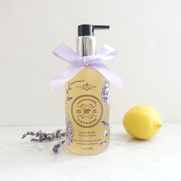 La Chatelaine Lavender Hand Wash a gentle soap with natural ingredients that cleanses and hydrates the skin.