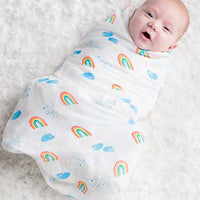 "Lulujo's muslin cotton swaddling blankets Soft and breathable. Use it as a blanket, a nursing cover, a portable crib sheet, a change mat, a stroller cover and more. Size: 47 x 47""."