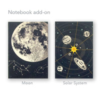 "KADOO Galaxy notebook in Moon or Solar System design. Made in the USA. 60 blank pages in recycled paper. Size: 4""x6""x1/4"""