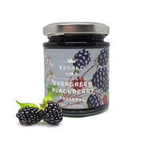Wild Evergreen Blackberry Preserve by Regalis Foods: Delicious on cheese, morning toast, tossed in salads, or atop vanilla ice cream. Ingredients: evergreen blackberry, organic cane sugar, lemon juice, pectin. One jar, 6.71 oz.