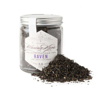 Earl Grey + Lavender Raven Tea by Waxing Kara. Handcrafted in small batches. Hand blended and packaged in house. Medium caffeine, rich, mysterious, gluten free, organic. One jar, 2.6 oz.