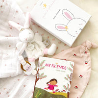 My Bunny Friends baby shower gift for girl. Contains: swaddle blanket, My Friends Taro Gomi Children's Book, cotton hat for newborn and a soft bunny lovey.