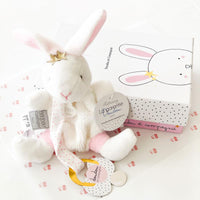Pearl Bunny by Doudou Et Compagnie. Soft soothing blanket for baby. Designed in France and comes in a beautiful keepsake box.