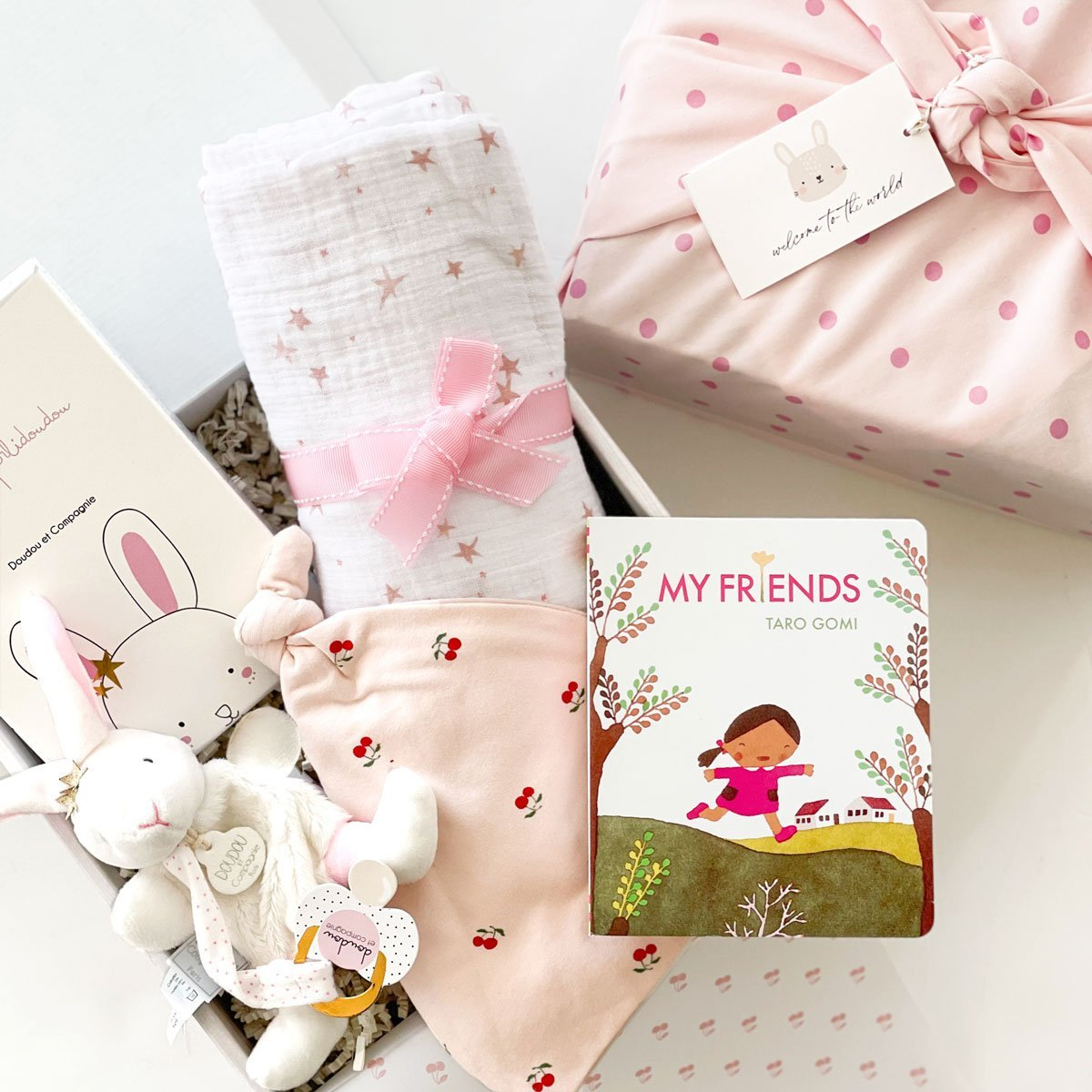 My Bunny Friends curated baby gift box. Perfect gift for newborn baby girl and baby shower gift set.