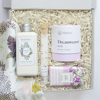 KADOO lavender lullaby spa gift box for Mother's Day features hand lotion, bath balm, bar soap and a tube of bath salt soak.
