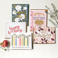 Choose notecards greeting to insert in KADOO gift box: Happy birthday, Happy Mother's Day, or Thinking of you.