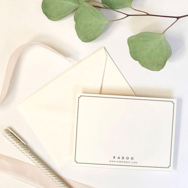 KADOO complimentary handwritten notecards in premium ivory paper with matching envelope.