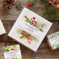 Via Mercato Pre de Provence Shea Butter Soaps: Four bar soaps with holiday scents of holly berry, sugar plum, mistletoe and snow flower.