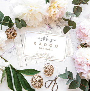KADOO gift card value at $50, $85 and $100. No expiration. Easy to send a gift of choice.