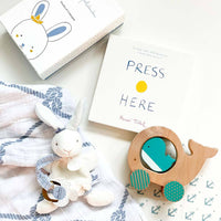 kadoo baby gift for newborn boy: bunny stuffed animal, wooden whale with wheel, press here board book and cotton muslin swaddle blanket.
